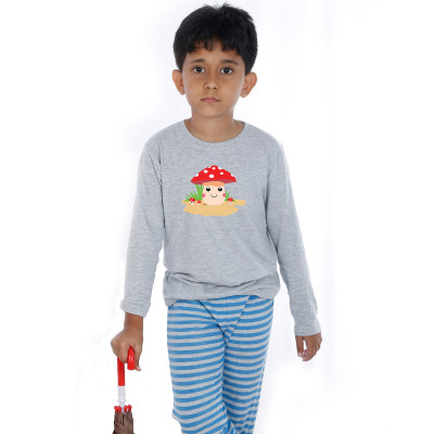 Grey Full Sleeve Boys Pyjama - Buttons